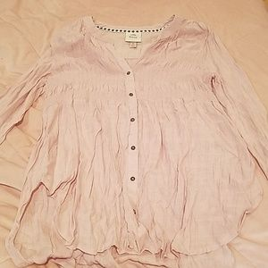 KNOX ROSE  Sz M Light Pink LS Button Down Shirt A1